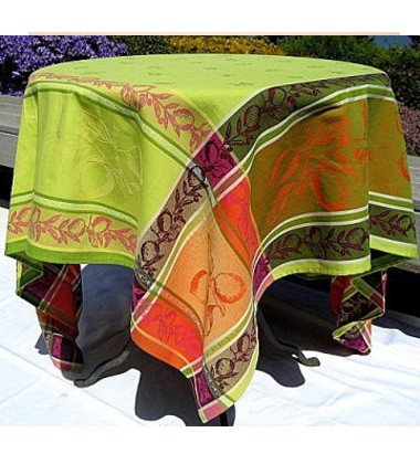 Citronnier Green Jacquard Tablecloth