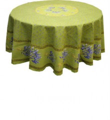 Round Green Tablecloth with Lavender