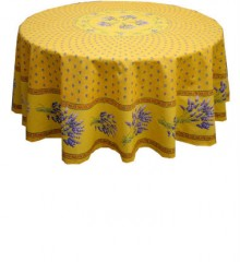 Round Yellow Tablecloth-Lavender