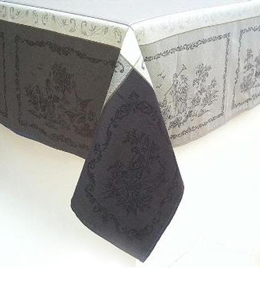 Grey and Ivory Jacquard Tablecloth