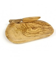 Olive Wood Butter Dish with Knife