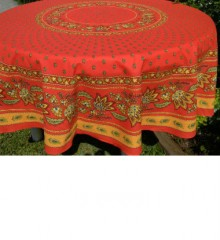 Round Tablecloth, Red-Gold