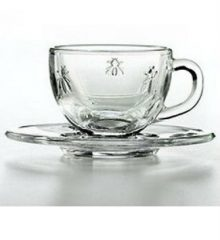 Glass Espresso Cup and Saucer Set